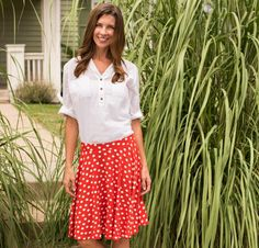 Sewing pattern for the Perfect Polka Dot Skirt Red - Kit and pattern (promoted)