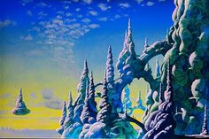 Geologically unlikely formations? Classic Roger Dean, from the cover of the Yes album The Ladder, in 1999.