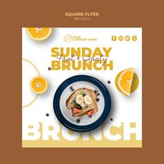 Flyer template with brunch theme Poster Design Layout, Food Poster Design, Creative Poster Design, Flyer Layout, Flyer Design, Food Graphic Design, Food Menu Design, Graphic Design Posters, Restaurant Promotions