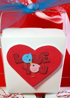 Valentine Chinese Take out boxes   Pink Polka Dot Creations
