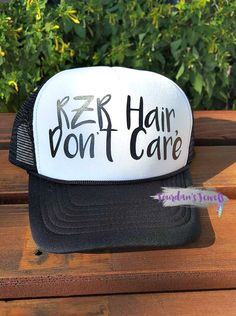 """""""RZR Hair, Don't Care"""" trucker hat. This hat is perfect for when you're out cruising the mountain in your RZR! Perfect gift for the RZR loving girl! Buy yours now at Jourdan's {Handmade} Jewels.    Polaris RZR, RZR 1000, RZR Ride, RZR Girl."""
