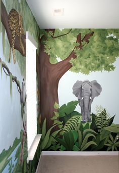 Someday I will have a daughter named eden and this will be her room! Kids Wall Murals, Murals For Kids, Art Wall Kids, Bedroom Murals, Kids Bedroom, Boys Jungle Bedroom, Jungle Art, Jungle Theme, Room Wall Painting
