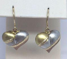 14k Rose-White-Yellow gold Tri color Dangle drop heart puff Earrings