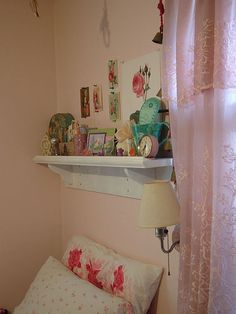 """granny chic bedroom.... all the """"stuff"""" on the shelves"""