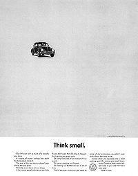Think Small - Doyle Dane Bernbach Agency, 1950. Helmut Krone, Julian Koenin (Print)