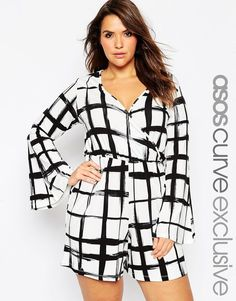 9dac2ba69eed ASOS CURVE Bell Sleeve Playsuit in Grid Check (Plus Size) Bodycon Jumpsuit