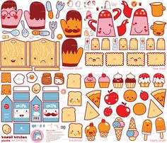 Kawaii kitchen fabric from spoonflower - the basis for some truly cute handmade…