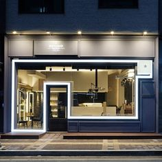 미용실 인테리어 스투디오올라 Shop Front Design, Cafe Design, Store Design, Coffee Stands, Building Facade, Cafe Interior, Shop Fronts, House In The Woods, Commercial Design