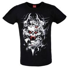 Alternative Black Skull Short Sleeve Punk Rock Emo Clothing T Shirts SKU-11409234