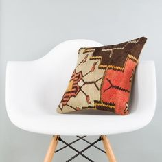 Geometric Multi Color Kilim Pillow Cover 16x16 5706 - kilimpillowstore  - 1