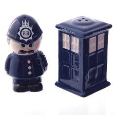 POLICE BOX (Dr Who) & POLICEMAN CERAMIC SALT & PEPPER SET in Gift Box