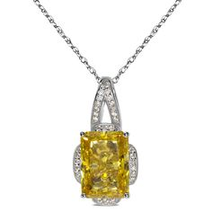 .63cttw White Cubic Zirconia with Yellow Cubic Zirconia Center in Sterling Silvr Pendant - Jewelry Deals 80% OFF + $25 OFF extra discount on purchases $500 & UP ! Enter PINPROMOT coupon at CHECKOUT to get $25 OFF when you place your order @ NissoniJwelry.com