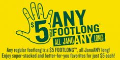 Subway: $5.00 Footlong Sandwiches through 1/31