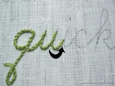 Detailed tutorial on how to hand stitch (stem stitch) cursive letters