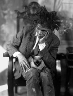 Jean-Michel Basquiat with cat, c. 1982, by James Van Der Zee (dark version)