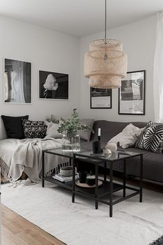 Best Living Room Wall Art Ideas And Decorations 2019 Best Living Room Wa… - Best Living Room Decor Ikea Living Room, Living Room Grey, Black White And Grey Living Room, Dining Room, Sinnerlig Ikea, Ikea Deco, Deco Studio, Minimalist Living, Living Room Inspiration
