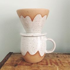 White Ceramic Cloud Mug and Pour Over Set, handmade mug ceramic coffee cup, white mug drip coffee, speckled mug and coffee dripper