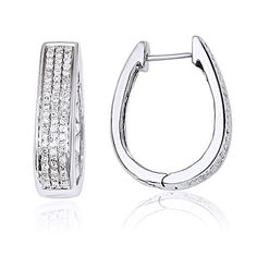 14K White Gold Diamond Large Hinged Oval Hoop Earrings. Carat Wt 0.45ct #gemdepot #Hoop #BlackFridaysDeals