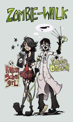 Este año una amiga y yo fuimos al zombiewalk, fue muy genial!!! este es solo un dibujo de los trajes que usamos para ese dia XDD