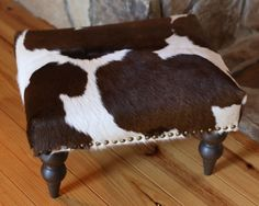 Cowhide Ottoman Stool Hide Leather Handmade by TheCowPelt