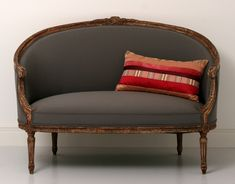Antique, French Sofa, Canape, 19th Century - White wall - Grey sofa - Red cushion