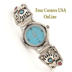 Four Corners USA Online - Women's Sterling Silver Bear Paw Watch Turquoise Stone Face Navajo Etta Larry NAW-1420, $198.00 (http://stores.fourcornersusaonline.com/womens-sterling-silver-bear-paw-watch-turquoise-stone-face-navajo-etta-larry-naw-1420/?attributes=eyIxMjEwIjoiMjAzNyJ9/)