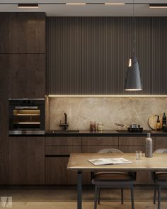 Private apartments in Tel Aviv on Behance Modern Kitchen Interiors, Luxury Kitchen Design, Kitchen Room Design, Home Room Design, Kitchen Cabinet Design, Luxury Kitchens, Home Decor Kitchen, Interior Design Living Room, Kitchen Ideas