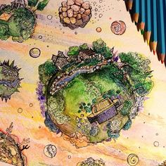 provocative-planet-pics-please.tumblr.com watercolor pencils and mini planets #drawing #painting #watercolorpencil #finepoint #art #artoftheday #clouds #planets #space #universe #sailorsdelight #miniature #desert #forest #lava #homestead by z.marguerite https://www.instagram.com/p/BEkltgTu_RN/