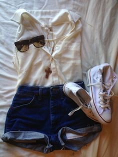 My go to summer outfit: High waisted shorts, sleeveless sheer button up, converse, sunnies, and long cross necklace