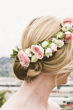Flower crown updo: http://www.stylemepretty.com/2014/10/16/contemporary-portland-ballroom-wedding/ | Photography: Christy Cassano-Meyer - http://christycassanomeyer.com/