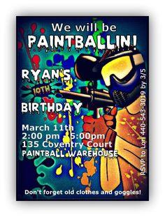 Paintball Birthday party Invitations boy invite paintball. $10.00, via Etsy.