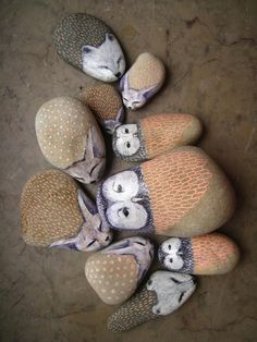 forest animals painted on rocks