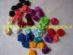 como elaborar flores miniatura en cinta de raso.flores rococo pequeñas  ...