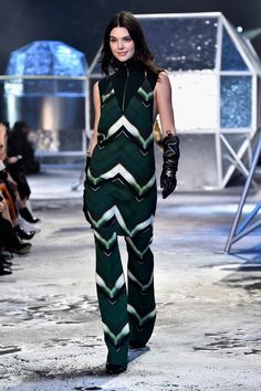 Kendall looked too cool for school in this printed two-piece. The H&M show was full of dresses layered over pants — something you should definitely try at home.