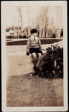 Old Antique Vintage Photograph Adorable Little Boy Wearing Shorts & Gloves