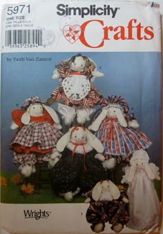 Simplicity 5971 Stuffed Bunny and Clothes 14 inch by Denisecraft, $5.99