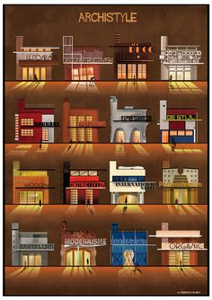 federico babina chronicles architectural styles of the last century is part of architecture - federico babina forms a chronological summary of some of the major architectural movements, expressed thorough simple graphic gestures Architectural Styles, Interior Architecture, Interior Design, Sketch Architecture, Art Deco, Art Nouveau, Small Windows, Style Guides, House Styles