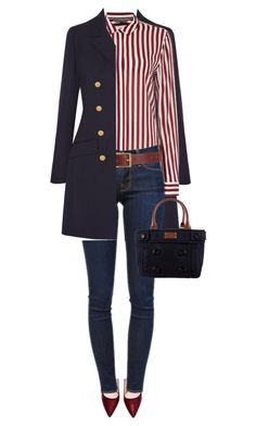 """Untitled by on featuring Vanessa Seward, Tommy Hilfiger, Frame Denim, Barneys New York and Kate Spade Mode Outfits, Casual Outfits, Fashion Outfits, Womens Fashion, Fashion Trends, Striped Outfits, Dress Casual, Fashion Pants, Striped Blazer Outfit"