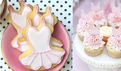 ballet cookies via the Sweet Bakeshop left and tutu cupcakes by Brooke Photography and Design via Catch My Party