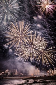 Amazing fireworks over the beach summer sky night beach fireworks 4th of july