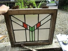 Vintage Stained Glass Window Panel Leaded Stained Glass Architectural Art Deco