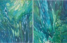 ARTFINDER: Pair Underwater Lagoon Landscape Orig... by Margaret Juul - This is for a pair of 2 stretched, original acrylic & ink canvases.  Art buyers (and art lovers) will see influences to prominent 19th Century Artists such...