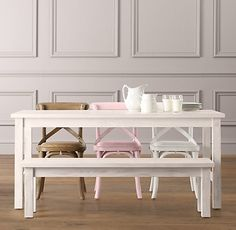 Love it! Take away one (or both) of the benches to the set we have and add our fun painted toddler chairs in different colors! Swoon!