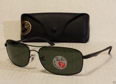 Ray-Ban POLARIZED men sunglasses RB 3484 metal frame black color rectangular