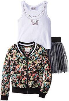 Beautees Little Girls' Multi Floral Skirt Set
