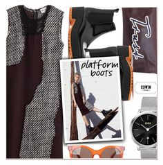 """""""Kickin' It: Platform Boots"""" by paculi ❤ liked on Polyvore featuring KENNY, Jil Sander, Marc Jacobs, PlatformBoots, BoldStripes, EdwinWatch and zlabwatch"""