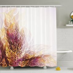 """Ambesonne Modern Art Home Psychedelic Floral with Blurry Leaf Visuals and Dynamic Effects Shower Curtain Set Size: 84"""" H x 69"""" W x 1"""" D"""