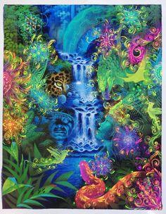 "Original Hand Painted on Canvas ""Amanecer en el bosque lluvioso"" by Jorge Ramirez, Student of Amaringo Jorge Ramirez, Amazon Rainforest, Medicinal Plants, Art School, Peru, Psychedelic, Nativity, Oil On Canvas, Universe"