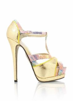 Go Jane Spotted Strappy Platform Heel in Gold... these remind me so much of a bathing suit I had when I was a kid!