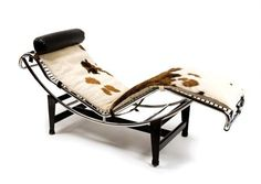 LE CORBUSIER, PIERRE JEANNERET AND CHARLOTTE PERRIAND   French, 20th Century   LC-4 Chaise Longue, designed 1928   Chromed and painted steel and cowhide   Length 63 inches.